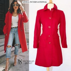 Victoria's Secret Moda Long Red Fitted Peacoat